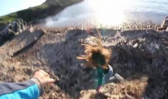 Σοκαριστικό βίντεο: Αγόρι σπρώχνει το κορίτσι του στο γκρεμό!