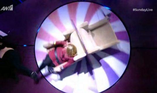 Ατύχημα στο Sunday Live! Έκσφενδονίστηκε στο πάτωμα! «Πάγωσαν» Μακρυπούλια – Μουτσινάς!