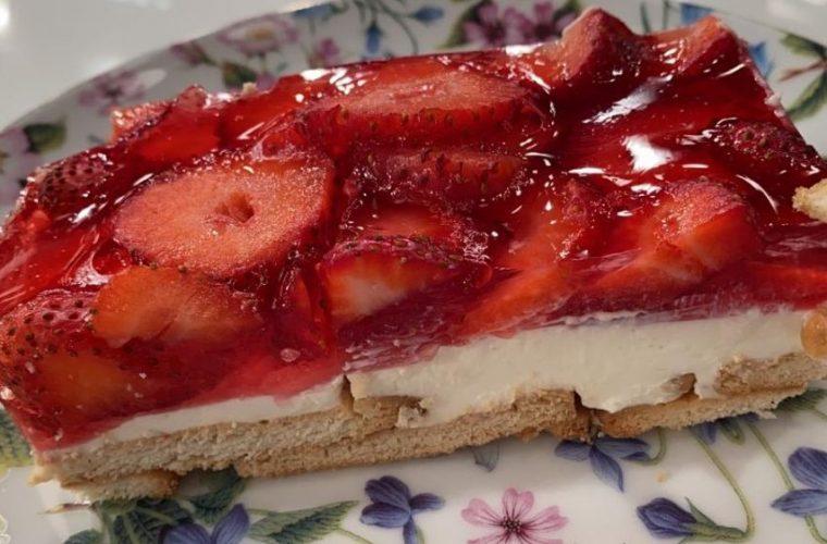 Εύκολο μπισκοτογλυκό με κρέμα λεμονιού και ζελέ φράουλα από το Βασίλη Καλλίδη! (vid)