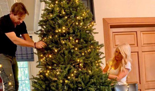 Ελένη Μενεγάκη: Στόλισε με τον Παντζόπουλο το τεράστιο χριστουγεννιάτικο δέντρο τους! (εικόνες)