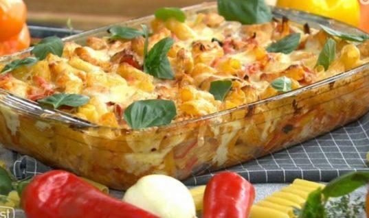 Ριγκατόνι με κοτόπουλο και λαχανικά στον φούρνο!